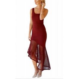 Duchess Of Burgundy Asymmetrical Fishtail Semi Sheer Dress Lc61218 3 Cl