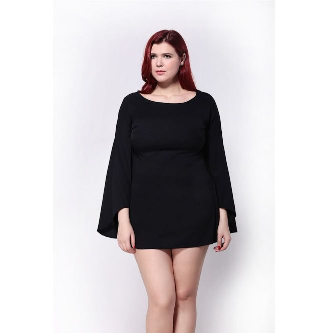 Plus Size Bell Sleeve Chiffon Dress
