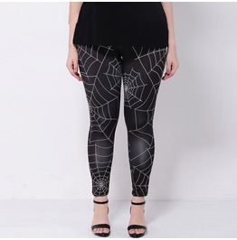 Plus Size Spider Web Printed Leggings