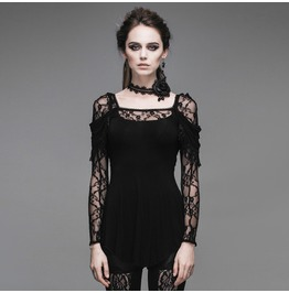 Devil Fashion Gothic Floral Lace Mosaic Shirts Top 011