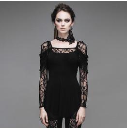 Devil Fashion Gothic Floral Lace Mosaic Shirts Top 011