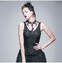 Devil Fashion Gothic Jacquard Embroidered Tops 027