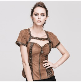 Devil Fashion Gothic Back Lack Up Faux Suede Corsets Tops 008
