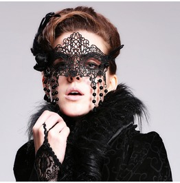 Devil Fashion Gothic Feather Beads Eyes Mask 010