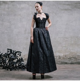 Devil Fashion Gothic Black Brocade Rockabilly Retro Lace Long Dress 006