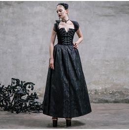 Devil Fashion Gothic Black Brocade Rockabilly Retro Lace Long Dress 006