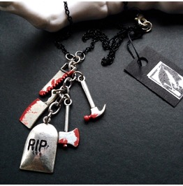 Rest In Pieces Gravestone And Bloody Weapons Layering Chain Necklace