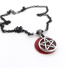 Red And Silver Pentagram Necklace On Matte Black Chain