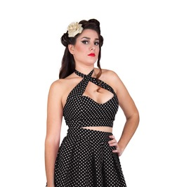 Polka Dot Crop Top, Pin Up Cropped Top, Festival Top, Vintage Clothing