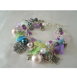 Victorian Flower Charm Bracelet, Pin Up Steampunk Retro Vintage Style