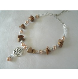 Picture Jasper Pentacle Ankle Bracelet, Wiccan Pagan Witch Goth Witchcraft