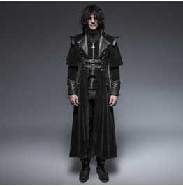 Men's Leather Looking Black Military Long Gothic Coat Y 636
