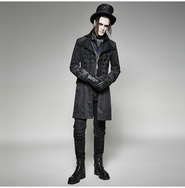 Mens Military Trench Black Gothic Long Coat Y 705