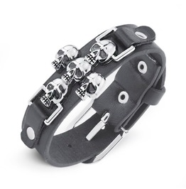 Skeleton Skull Rock Punk Rivets Spike Pu Leather Wide Wristband Bracelet