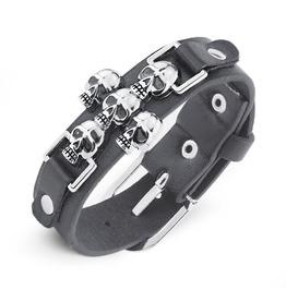Skeleton Skull Rock Punk Rivets Spike Pu Leather Wide Wristband Bracelet