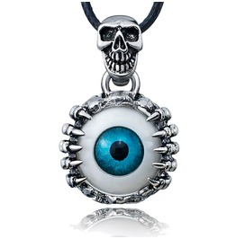 Skeleton Skull Eyes Stainless Steel Necklace Leather
