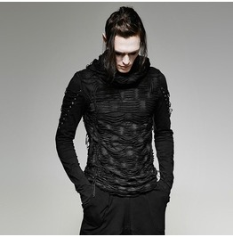 Mens Slim Fit Ripped Black Corseted Gothic Hoodie T 438