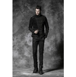 Mens Black Floral Military Victorian Gothic Jacket Y 468
