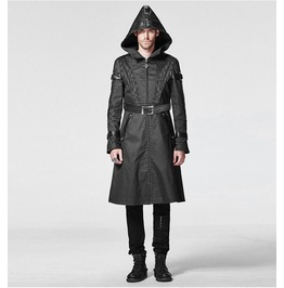 Y 606 Mens Hooded Black Military Trench Long Gothic Coat