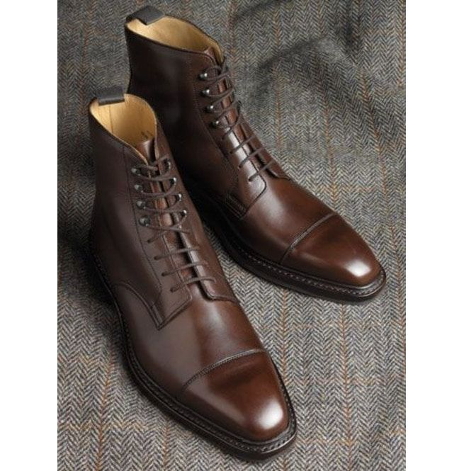 Handmade Men Brown Lace Up Ankle