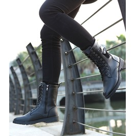 Mens Faux Leather Black Winter Boots