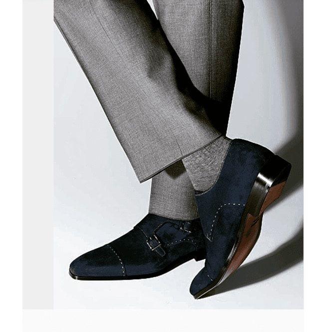 Handmade Men Monk Strap Shoes Suede Shoes Men Navy Rebelsmarket