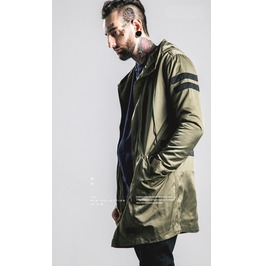 Mens Black/Green Hooded Trench Coat