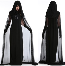 Halloween Purim Carnival Black Gothic Witch Cosplay Dress