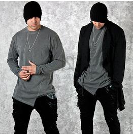 Grunge Gray Asymmetric Cut Long Sleeves T Shirts 603