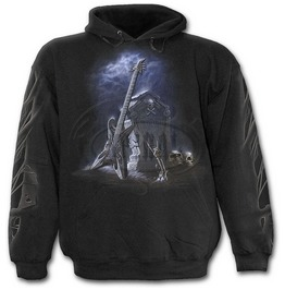 Men,S Black Tomb Stone Skeleton Metal Skull Hoody