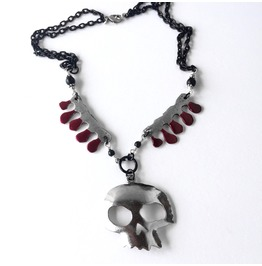 Dripping Blood And Silver Skull Black Two Chain Horror Statement Necklace