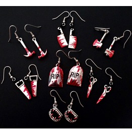 Choose Your Weapon Bloody Earrings Murder Weapons Gravestone Vampire