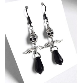 Black Crystal Angel Of Death Iv Silver Sugar Skull Earrings