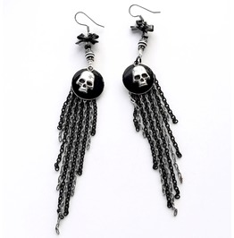 Black And White Silver Skull Long Chain Fringe Earrings
