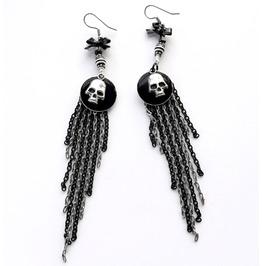 Black And White Silver Skull Long Chain Fringe Earrings