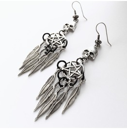 Silver And Black Skull And Pentagram Dreamcatcher Earrings