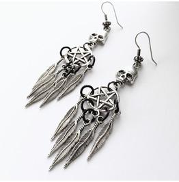Silver And Black Skull And Pentagram Dreamcatcher Earrings