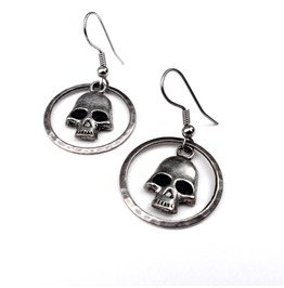 Silver And Black Skulls Hammered Ring Earrings, Skull Jewelry