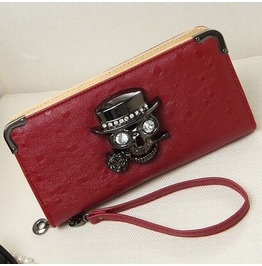 Crystal Skull Roses Punk Faux Leather Ladies Wallet