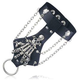 Punk Glove Rock Gothic Skeleton Skull Hand Glove Wristband Bracelet