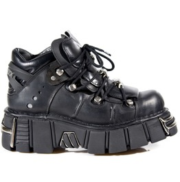 New Rock Shoes Unisex Black Leather Steel Tower Boots