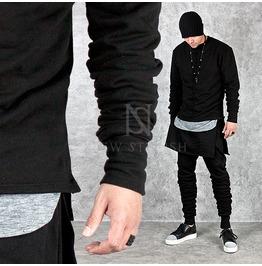 Shirring Sleeves Accent Black Sweatshirts 604