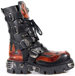 New Rock Shoes Unisex Black Leather Reactor W/ Red Skull In Flames Boots
