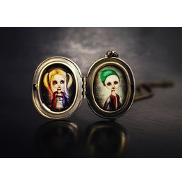 Harley Quinn And Joker Locket Necklace