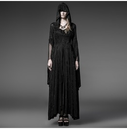Punk Rave Gothic Hooded Witch Maxidress Halloween Priestess Dress Y 510