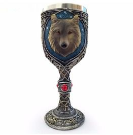 Antique Metal Work Fox Head Wine Goblets