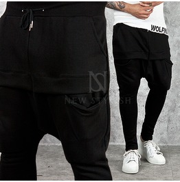 Double Banded Pocket Accent Black Baggy Sweatpants 203