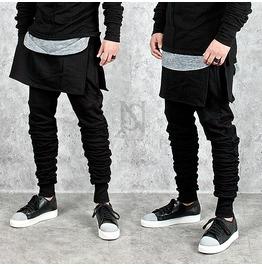 Flat Skirt Layered Black Leggings Sweatpants 207