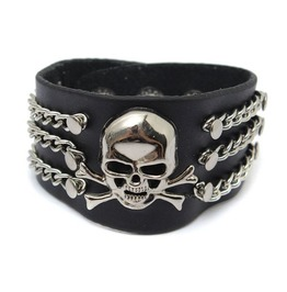 Punk Metal Chain Skull Black Leather Bracelet Wristband Men Jewelry