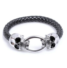 Punk Black Pu Leather Skeleton Skull Stainless Steel Bracelet Men Jewelry